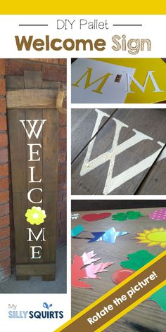 DIY Welcome Sign with interchangeable monthly pictures! DIY Welcome Sign with interchangeable monthly pictures! Outdoor Welcome Sign, Welcome Signs Front Door, Wooden Welcome Signs, Outdoor Signs, Diy Pallet Furniture, Diy Furniture Projects, Diy Pallet Projects, Pallet Crafts, Wood Crafts