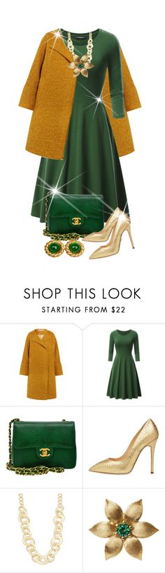 """""""Holiday Green Dress"""" by shamrockclover ❤ liked on Polyvore featuring Elizabeth and James, Chanel, Giuseppe Zanotti, Kenneth Jay Lane, La Perla and polyvoreeditorial"""