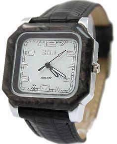 FW747A Weiß Dial Silikon schwarz Band Unisex Lizard Pattern Bands Mode Uhr