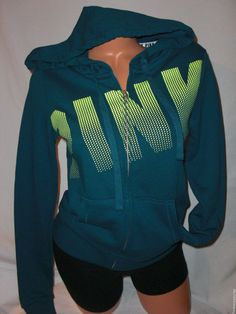 New XS Victoria's Secret PINK Hoodie Dark Teal & Neon Lime Cotton/Polyester #VictoriasSecretPINK #Hoodie