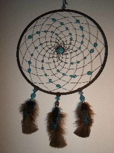 Dreamcatcher - Blue representing the sky and brown representing the earth