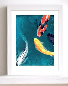 Art Print - Watercolor Painting - Koi Fish - Water Ballet - Japanese Carp