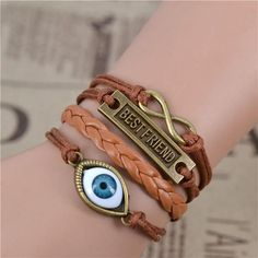 New Infinity Love Leather Love Owl Leaf Charm Handmade Bracelet Bangles Jewelry 2pac/lot