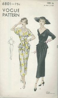 An original ca. 1949 Vogue Pattern 6801.  One-piece dress - Slim skirt with narrow back panel joins bodice at waist-line.  Circular front peplum joined in waist-line seam and side seams.  Wide, deep neck-line in front, higher in back.  Three-quarter length push-up sleeves and short flared sleeves.