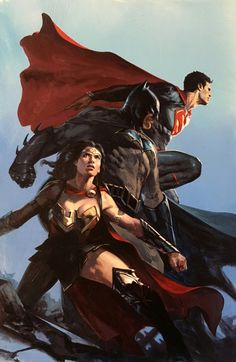 DC Trinity, Wonder Woman, Batman and Superman by Gabriele Dell'otto — Justice League Exclusive Cover Marvel Dc Comics, Heros Comics, Hq Marvel, Dc Comics Characters, Dc Comics Art, Dc Heroes, Captain Marvel, Captain America, Poster Superman