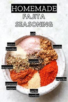 Fajita Seasoning Packet, Homemade Fajita Seasoning, Chicken Fajita Recipe, Seasoning Recipe, Homemade Taco Seasoning, Seasoning Mixes, Homemade Spices, Healthy Cookie Recipes, Mexican Food Recipes