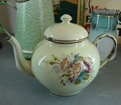 beautiful old french enamelware teapot