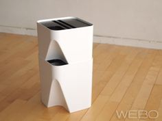 stackable recycling bins for paper, plastic and glass!