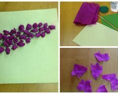 Веточка сирени - аппликация из папиросной бумаги 7