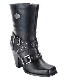 Black Obsession Leather Motorcycle Boot - Women