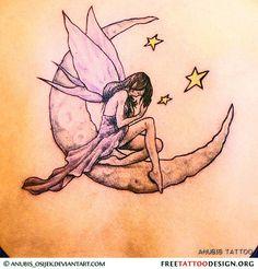 Fairy, moon and stars tattoo