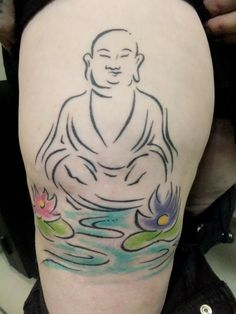 buddha+and+lotus+flower+tattoo | Upper Arm Buddha Silhouette & Lotus Tattoo
