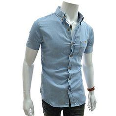 (JDS54-LIGHTBLUE) Slim Fit Checker Patched Pocket Denim Short Sleeve Shirts