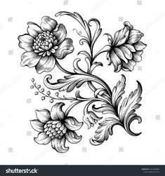 Flower vintage Baroque scroll Victorian frame border floral ornament leaf engraved retro pattern rose peony decorative design tattoo black and white filigree calligraphic vector - Buy this stock vector and explore similar vectors at Adobe Stock Victorian Frame, Victorian Flowers, Vintage Flowers, Victorian Tattoo, Vintage Blume Tattoo, Vintage Flower Tattoo, Tattoos Skull, Black Tattoos, Sleeve Tattoos