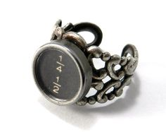 Steampunk Ring Steam Punk Typewriter Key Ring Math Fraction Typewriter Key Ring Silver Adjustable Ring