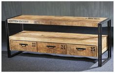 Meuble TV 3 Tiroirs 150 cm Acacia Massif Fer Noir Collection URBAN