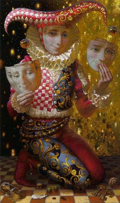 Siren+song+-+Victor+Nizovtsev+1965+-+Russian+Fantasy+painter Court Jester, Poster Pictures, Magic Realism, Jokers, Lamps, Alice, Cute Illustration, Pen And Wash, Frames
