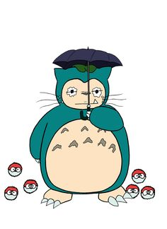 "I present the fusion of Totoro and Snorlax, or ""Totorlax"" as I like to call it.  #fake #ghibli #pokeball #pokemon #snorlax #totoro #umbrella #anime #colorful #fanart #manga #paint #redkiddo"