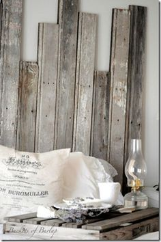 Rustic wood headboard