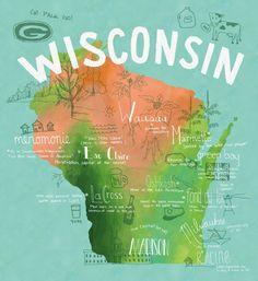 Wisconsin Map Art Print