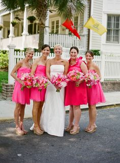 pink bridesmaid dresses!