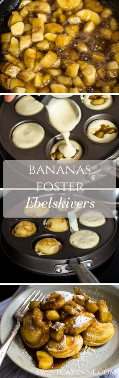 "This recipe for filled pancakes, also known as Ebelskivers, are filled with a butter Bananas Foster compote and are the perfect way to put a little ""hygge"" into weekend brunch."