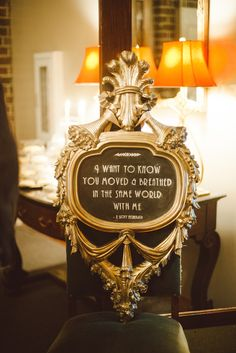 For a Great Gatsby theme wedding find romantic excerpts from that era to add to the mood. Source: The Pink Bride. #greatgatsby #weddingsigns #weddingquotes