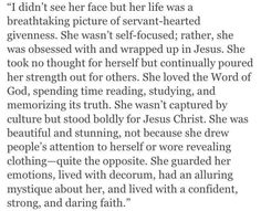Be that woman. I want to be that women. Striving to be that women. With Gods help!