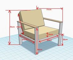 wooden armchaird plan 3D