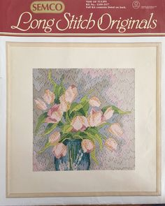 Perfect vintage DIY gift, Vase of tulips long stitch kit, Semco Long Stitch Originals which is just like new by KindredClassics on Etsy Stitch Kit, Upcycled Vintage, Pretty Pastel, Floral Fabric, Wool Yarn, Art Forms, Autumn Leaves, Tulips, Unique Gifts