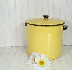 Vintage Black on Butter Yellow EnamelWare Large by DivineOrders, $37.00