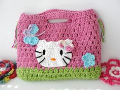 Crochet Hello Kitty hand bag purse for your little by JudysHobby