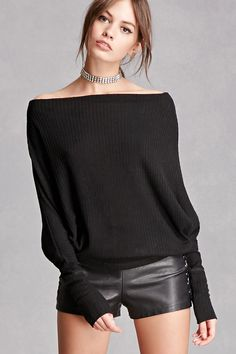 A textured knit top featuring long batwing sleeves, an off-the-shoulder silhouette, and a slouchy fit. This is an independent brand and not a Forever 21 branded item.