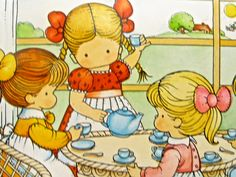 Tea Party....Joan Walsh Anglund    The faces...so simple...yet so much expression in each one...no nose or mouth and small dots for eyes...yet they are expressive...how did she do this?