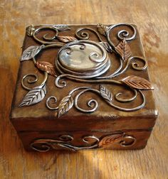 Multi-Gold and Silver Square Box (front view) by MaevinWren, via Flickr