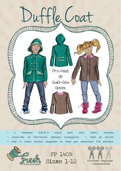 PATTERN Duffle Coat PDF Sewing Pattern by FreshPatterns... Sizes 1-12. Perfect for boys or girls.. Quick-Sew (shown) or Pro-Finish options. With or without hood.