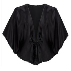 Ayten Gasson Ana Silk Bed Jacket: This classic silk bed jacket has been crafted from a beautiful black silk and trimmed with black cotton lace produced in Britain by The Cluny Lace Company. The mid length silk jacket features delicate pleating along the front and a simple ribbon tie. The Ana bed jacket can be teamed with the Ana French Knicker for an elegant loungewear set or for an alternative look, the bed jacket can sit beautifully with jeans or a pencil skirt, creating the never off…