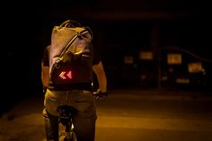 The Lumos Aster backpack lights up the night so you don't get 'doored'