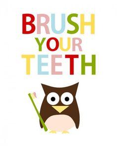 Brush Teeth Sign Kids Bathroom