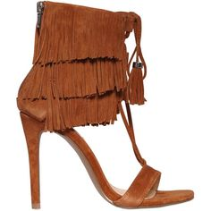 Steve Madden Women 100mm Fringed Lace-up Suede Sandals ($155) ❤ liked on Polyvore featuring shoes, sandals, heels, brown, high heel sandals, suede fringe sandals, strappy heel sandals, fringe sandals and lace up sandals