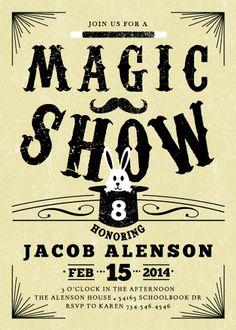 magic show birthday invitation - RUVAcards