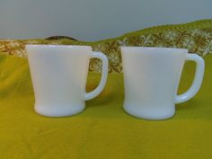 Fire King Mugs 2 Anchor Hocking Pearl White by Lynnestreasures