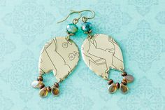 Large Gold Deer Vintage Tin Earrings with Teal Faceted Glass