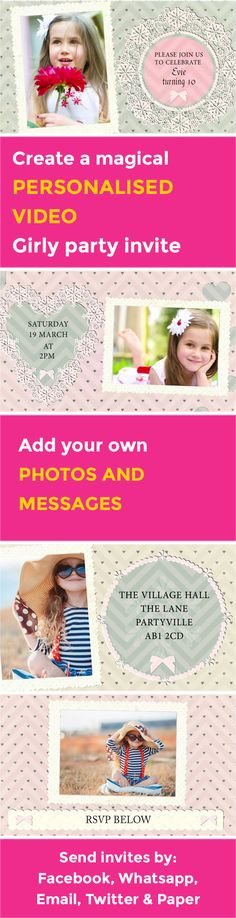 Create your own magical Girly VIDEO party invitation - www.poshtiger.co Online Birthday Invitations, Party Invitations Kids, Invites, Rsvp, Create Your Own, Birthday Parties, Girly, Party Ideas, Messages