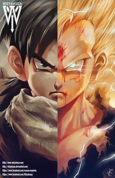 Gohan Dragon Ball Z Saga de Saiyan y Super Saiyan 2 por Wizyakuza