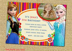 Disney Frozen Frozen Elsa Frozen Birthday by AnastasiaArtDesigns, $8.99 Frozen Frozen, Frozen Party, Disney Frozen, 5th Birthday, Birthday Parties, Frozen Birthday Invitations, Free Thank You Cards, Little Ones, First Birthdays