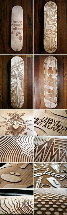 Engraved Skate Decks: looks cool as shiz but more art, less riding. They'd probably snap under nothing Más Skate Longboard, Longboard Decks, Longboard Design, Skateboard Deck Art, Skateboard Design, Nike Skate, Skate Art, Skate Decks, Design Graphique