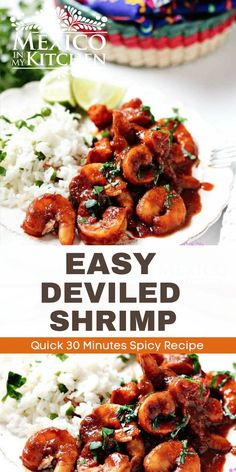 Easy Deviled Shrimp (Camarones a la Diabla) are juicy and really quick to make. Covered in a bright red chile pepper and chipotle sauce that are ready to eat in 30 minutes! (gluten free, low carb, paleo) #shrimp #spicyshrimp Spicy Recipes, Shrimp Recipes, Chicken Recipes, Easy Recipes, Keto Recipes, Real Mexican Food, Mexican Food Recipes, Kitchen Recipes, Cooking Recipes