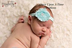 Single Light Aqua Blue Shabby Flower on Matching Elastic Headband with Simple Rhinestone Center - Newborn Baby Little Girls Hair Bow on Etsy, $2.99