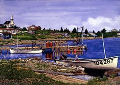Winter Gallery - Artist Thelma Winter - Nova Scotia Canso Bay (Powered by CubeCart) Kitsch, Fishing Villages, Winter Art, Nova Scotia, Folk Art, Nautical, Coastal, Landscape, American